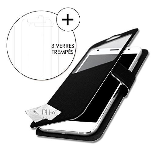 Unbekannt PH26 HTC One X9 Super Pack Schutzhülle mit Sichtfenster, Schwarz, PU-Leder