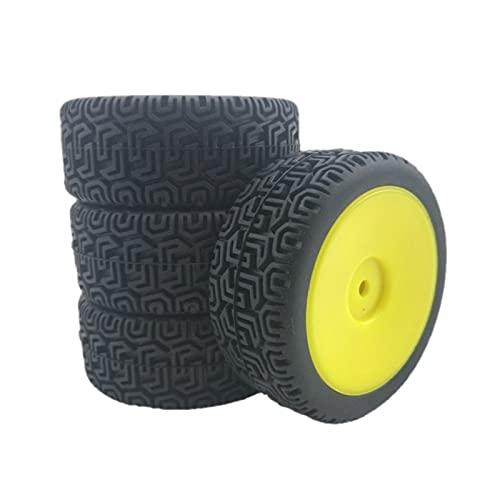 SunniMix 4 Set di RC Auto 66 Millimetri di Gomma Pneumatici Set Fit per WLtoys 144001 e 1/18 1/16 1/10 RC Buggy Crawler Deriva On-Road Truck Aggiornamento - Giallo