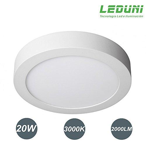 LEDUNI Downlight panel superficie led circular 20w plafon Redondo Mejor Precio 2 years-unlimited garantía (LUZ CALIDA)