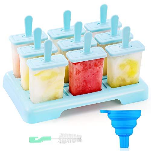 ANSMIO Eisformen 9 Eisförmchen wiederverwendbar Eis am Stiel Formen Eiscreme Formen DIY Ideen Eis am Stiel BPA Frei - kommt mit einer Reinigungsbürste und Silikon Falttrichter