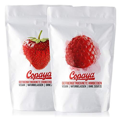 Copaya 450g Gefriergetrocknete Beeren im Set, Knusprige Himbeeren 250g und Erdbeeren 200g aus deutscher Herstellung