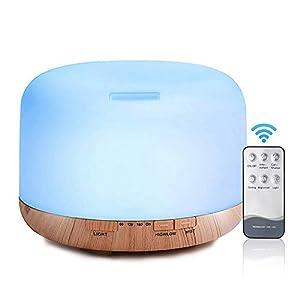 Decdeal - 500ml Humidificador Ultrasónico de Aire con Mando a Distancia, Lámpara Difusora de Aromas Aceite Esencial Aromaterapia Mist Maker