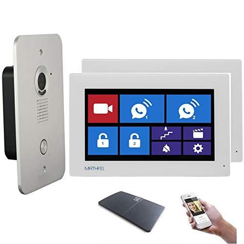 4 Draht Video Türsprechanlage Gegensprechanlage 7'' Monitor Klingel Farb mit oder ohne WLAN Schnittstelle, Farbe: Mit, Größe: 2x7'' Monitor mit WLAN Schnittstelle