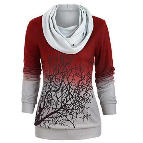 VRTUR Damen Halloween Kostüme Party V-Ausschnitt Kapuzenpullover Damen Hoodie 3D Carton Tree Casual Langarm Pullover Sweatshirt(B-Rot,XXXL)