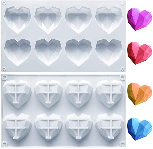 2 pack 3d diamond heart mousse cake mold heart geometric baking,small geometric silicone heart mould - 8 cavity,3d love heart diamond shaped silicone diy mold for cake chocolat