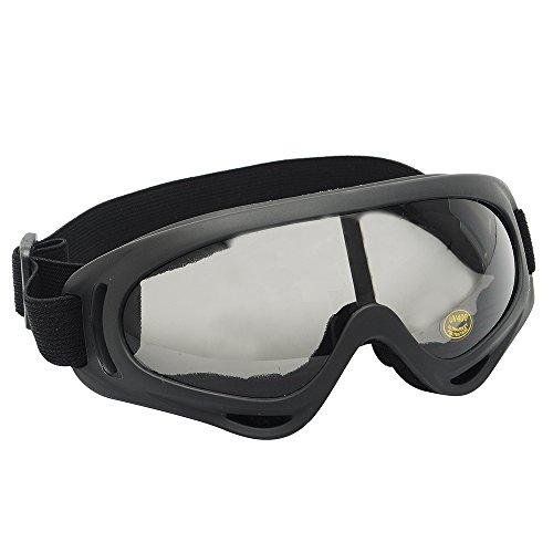 Occhiali UV resistenti al vento, motociclismo ciclismo snowmobile sci anti-polvere occhiali Airsoft Tactical Eyewear sport occhiali protettivi di sicurezza (Nero)