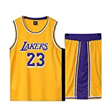 Basketball Trikot für Lebron Raymone James No.23 Lakers Fans Basketball ärmellose Anzug Kinder Erwachsene schwarz lila Sportswear T-Shirt Weste + Shorts jugendlich weiß gelb Sweatshirt-Yellow-M