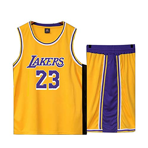 Basketball Trikot für Lebron Raymone James No.23 Lakers Fans Basketball ärmellose Anzug Kinder Erwachsene schwarz lila Sportswear T-Shirt Weste + Shorts jugendlich weiß gelb Sweatshirt-Yellow-XS