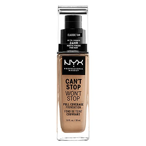 NYX Professional Makeup Can't Stop Won't Stop Full Coverage Foundation, Langanhaltend, Wasserfest, Vegane Formel, Mattierter Teint, Farbton: Classic Tan