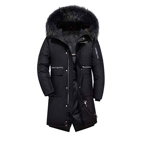HZCX FASHION Men's Fur Collar Hooded Warm Fleece Lined Down Jackets and Coats(8896 Black,L(44))