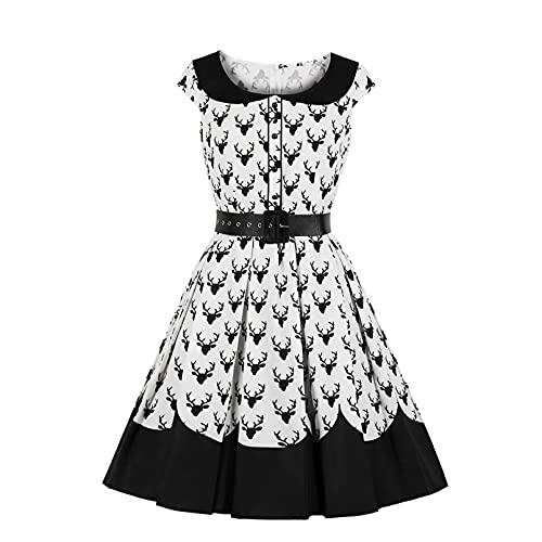 MWLSW Vestido Midi Plisado con Botones de Verano para Mujer Negro Blanco Elegante Vintage con Cuello Peter Pan Estampado de Ciervos Lindos Vestidos Retro con Columpio-XL