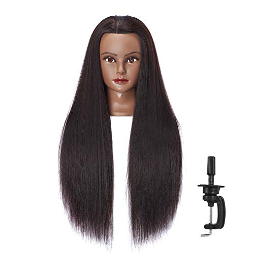 Hairlink 26-28'' Mannequin Head Yaki Synthetic Fiber Hair Styling Training Head Dolls for Cosmetology Manikin Maniquins Practice Head with Stand (6611BY0220)