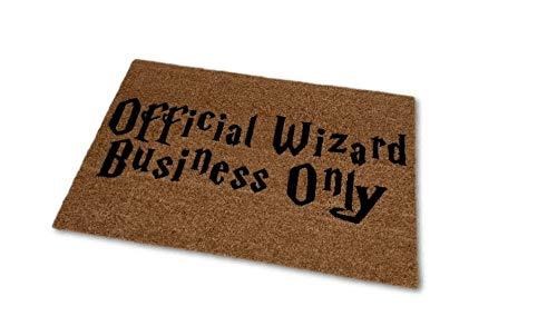 Official Wizard Business Only Coir Funny Doormat, Size Small - Welcome Mat - Doormat - Custom Hand Painted Doormat by Killer Doormats