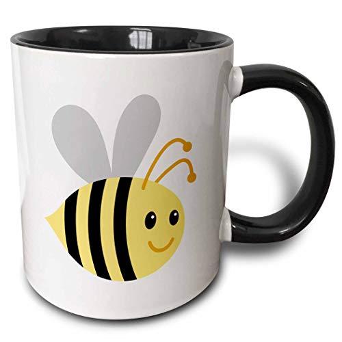 Novelty Ceramic Mug 11 oz Funny Coffee Mug Unique Gift Cute Cartoon Bumble Bee Mug Black Coffee Cup wiht Colored Rim and Handle for Men Women