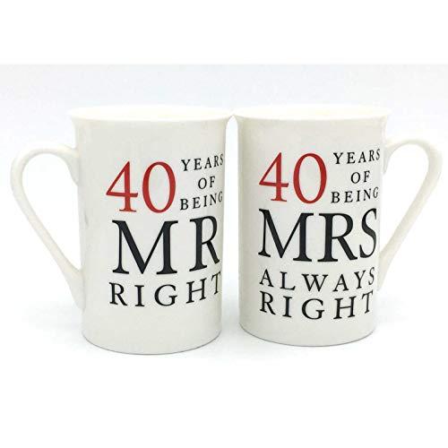40th Anniversary Gift Set of 2 China Mugs 'Mr Right & Mrs Always Right'