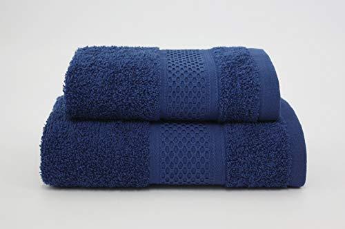 Asciugamano da bagno, Set di due asciugamani da bagno 100% cotone, morbide al tatto. Spugna di alta qualità proveniente da Portogallo peso 340gr/mq . (Blu)