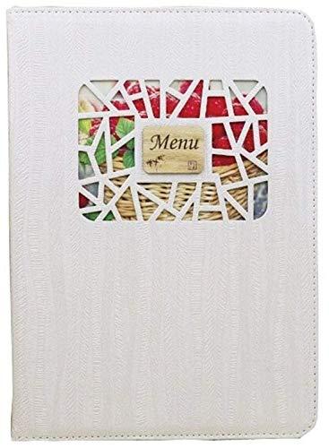 10枚セット 小窓付き メニュー ブック ファイル A4 全4色 木目 料理 選択 中閉じ スタンダード レシピ バインダー… (ベージュ)