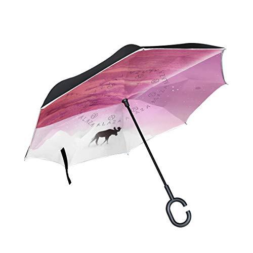 XiangHeFu Paraguas Reverso invertido de Doble Capa Ciervo Amor Plegable Protección contra el Viento Protección UV Grande Recto para automóvil con Mango en Forma de C