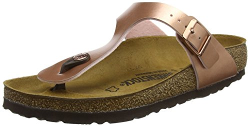 BIRKENSTOCK Damen Gizeh Zehentrenner, Pink (Soft Metallic Rose Gold Soft Metallic Rose Gold), 41 EU