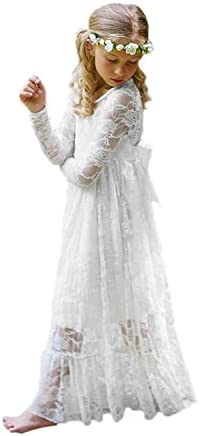 Fancy Ivory White Lace Flower Girl Dress Boho Rustic First Communion Gowns Size 4 White product image