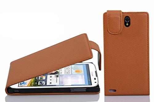 Cadorabo Hülle für Huawei Ascend G610 - Hülle in Cognac BRAUN – Handyhülle aus Strukturiertem Kunstleder im Flip Design - Hülle Cover Schutzhülle Etui Tasche