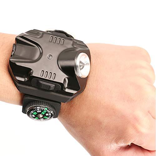 WCYWRIST Luz De Muñeca,Reloj LED Súper Brillante Linterna Antorcha Luces Brújulas Deportes Al Aire Libre Hombre Moda Lámpara Impermeable Recargable Reloj-Negro