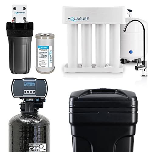 Aquasure Whole House Water Filtration Bundle w/Water Softener, 75 GPD RO System & Triple Purpose Sediment/GAC/Zinc Pre-Filter (48,000 Grains)