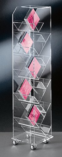HOWE-Deko Hochwertiger Acryl-Glas CD Ständer/CD Regal/CD Aufbewahrung, mit 4 verchromten Rollen, klar, Außenmaße 33 x 33 cm, H 115 cm, Acryl-Glas-Stärke 10/6 / 4 mm