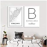 Mapa de Barcelona Imprimir España España Ciudad Calle Mapa de carreteras Póster Pintura de lienzo moderna Imagen en blanco y negro Oficina Arte de la pared Decoración-50x70x2Pcscm Sin marco
