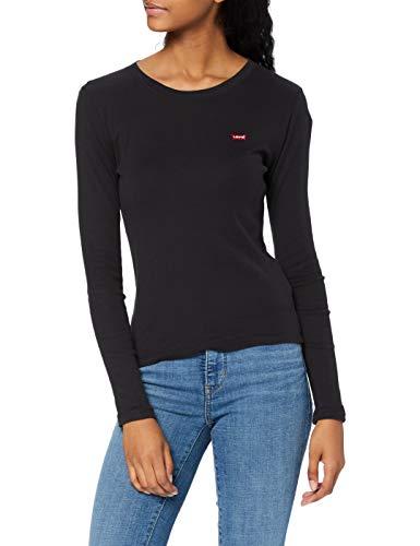 Levi's 501 Crop T-Shirt Maglia a Maniche Lunghe, Black (Caviar 0014), Medium Donna
