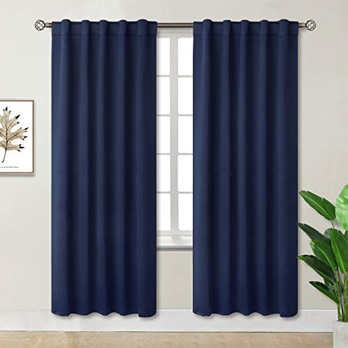 BGment Rod Pocket and Back Tab Blackout Curtains for Bedroom - Thermal Insulated Room Darkening Curtains for Living Room, 2 Window Curtain Panels (42 x 84 Inch, Navy Blue)