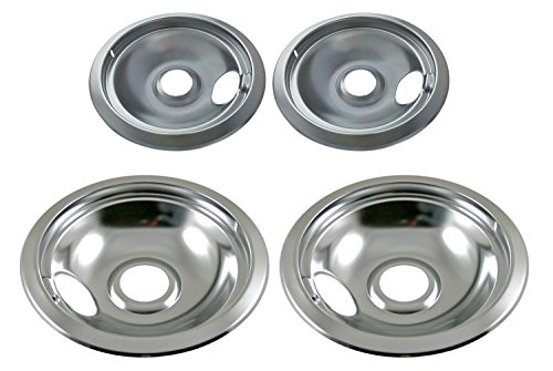 "Chrome Drip Pan Set Replacement for Frigidaire Kenmore 316048413 and 316048414: 2 ea 6"" and 8"