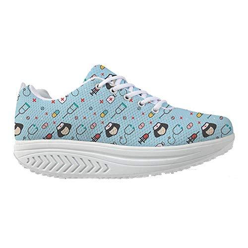 Bigcardesigns Walking Shoes Sport Sneaker Casual Cute Nurse Print for Women 38