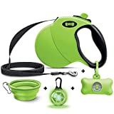 Ruff 'N Ruffus 360° Tangle-Free 16 ft Retractable Dog Leash + Free Travel Bowl + Free Waste Bag Dispenser & 15 Bags + Free LED Charm | Reflective Tape Easy Lock Anti Slip Handle