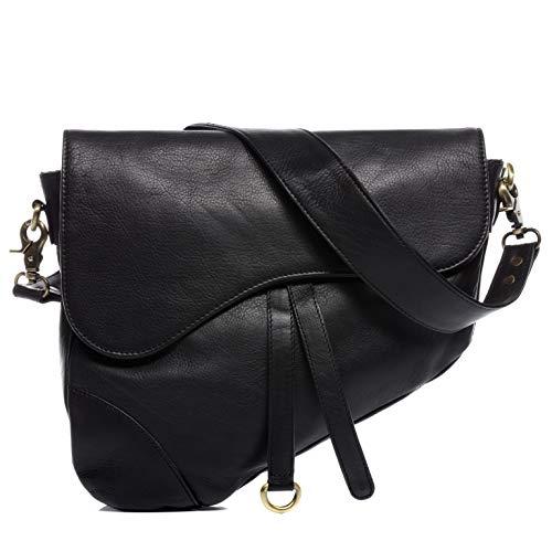 BACCINI Borsa a tracolla in vera pelle LIV piccola borsa a mano borsa a tracolla in pelle da donna nero