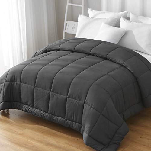 ILAVANDE Comforter, All Season Microfiber Twin Comforter-Down Alternative Quilted Bed Comforter-Soft and Comfortable Machine Washable Bedding Comforter with Box Stitched Designed(Twin, Grey)