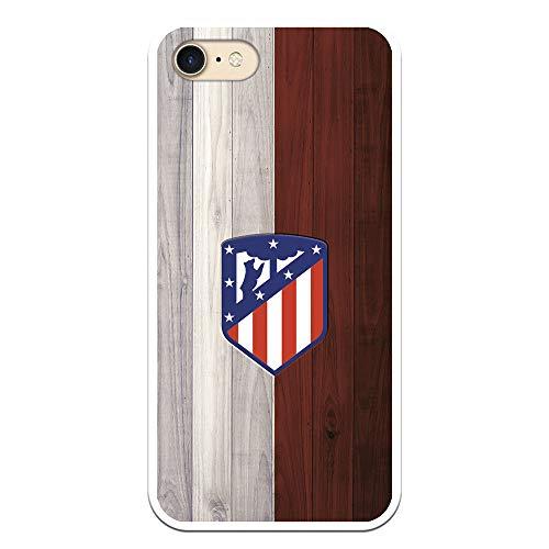 Funda para iPhone 7 - iPhone 8 - iPhone SE 2020 Oficial del Atlético de Madrid Madera para Proteger tu móvil. Carcasa para iPhone de Silicona Flexible con Licencia Oficial de Atlético de Madrid.