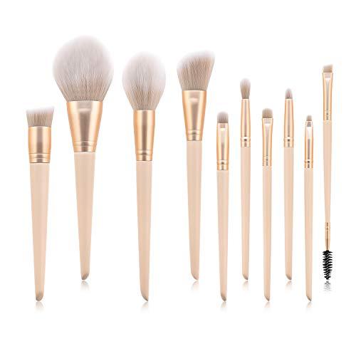 Pinceau De Maquillage Set 10 Pièces Fard À Paupières Poudre Libre Blush Outil De Maquillage L -001 Jaune