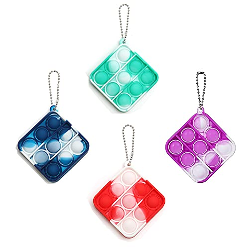 More1 Mini Push and Pop Bubble Sensory Fidget Toys Silicone Bubble Popper Tie Dye Keychain Simple Dimple Fidget Toy Stress Relief Anti-Anxiety Autism Square Squeeze Toys Pack (4pcs)