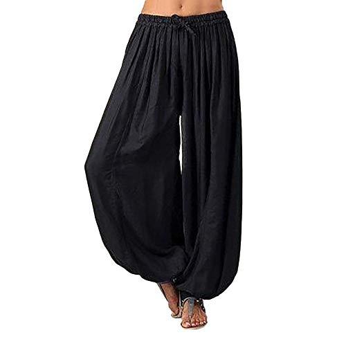 Riou Weite Hose Damen Sommer Lang Yogahosen Straight mit Tunnelzug Katze Drucken Schlabberhose Freizeithose Jogginghose Sporthose
