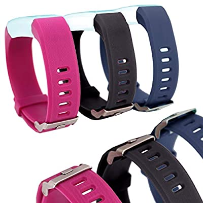 Waargroup Replacement Band for Fitness Tracker Bands ID115Plus HR-ID115Plus Fitness Band Watch Smart Bracelet Wristband 3 Pack Colors for Men Women and Kids (Purple, Black, Blue)
