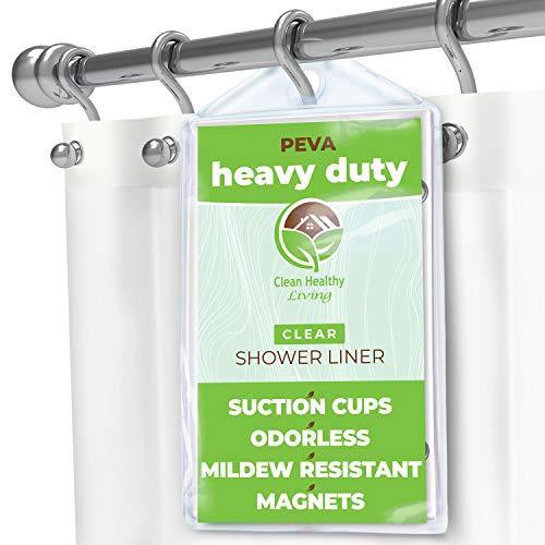 Heavy Duty–Cortina de ducha (PEVA): inodoro y anti moho (con imanes y ventosas–Transparente Color Larga y Pesada de). Es 70x 71cm