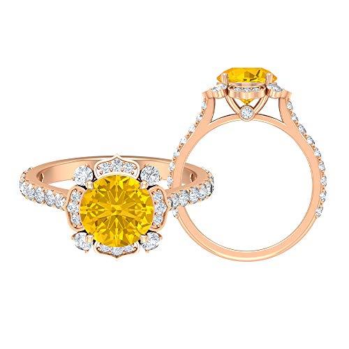 Anillo solitario floral, anillo de 8 mm creado en laboratorio de zafiro amarillo, D-VSSI Moissanite Cluster Anillo, Piedra Lateral Anillo de compromiso, 14K Oro