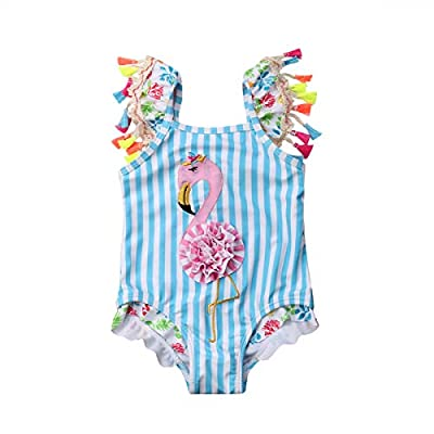 Kids Toddler Baby Girl One Piece Swimsuit Beach Wear Striped Flamingo Tassels Swimwear Bathing Suits 6-12 Months Blue/Pink