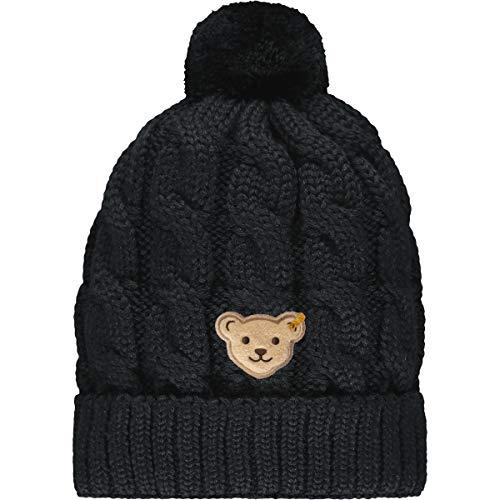Steiff Mädchen mit süßer Teddybärapplikation Mütze, Navy, 053