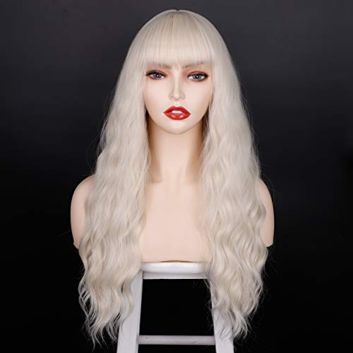 ENTRACED STYLES PlatinumBlondeWigwithBangs, Long Wavy Wigs for Women Natural Hair Wig Heat Resistant Synthetic Wig Daily Party Cosplay Use