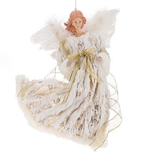 ARCCI Angelo volante di Natale, 40,6 cm, bianco e dorato, con vestito finto di lusso, ornamenti da appendere per la casa e le vacanze