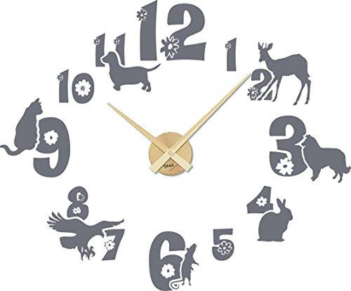 GRAZDesign muurtattoo klok kinderkamer huisdieren motief - kinderklok kinderen wandklok met grote wijzerplaat / 800463 Uhrwerk gold 071, grijs