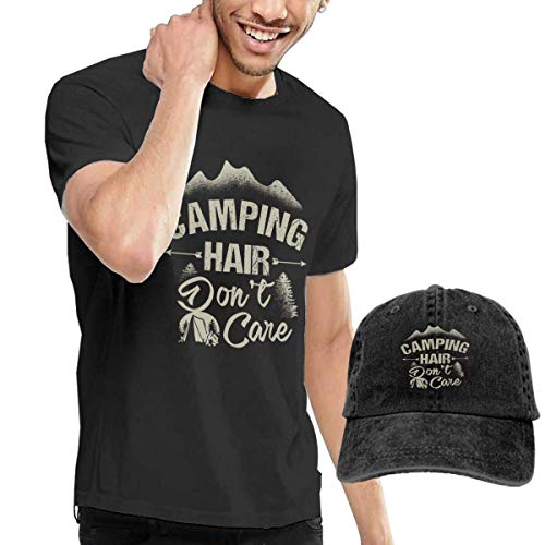 Henrnt T Shirt Herren, Camping Hair Don't Care Shirts Short Sleeve Denim Hats