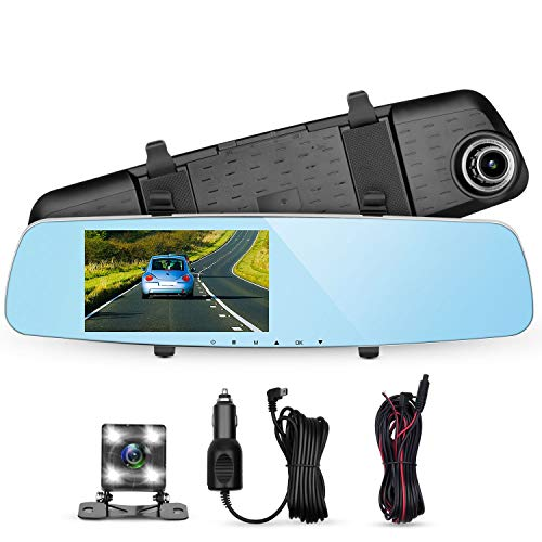 Panlelo D7 Dash CAM Car Driving Recorder 5.0' Dashboard Camera Car DVR Video Recorder 1296P 6 Layer Glass Dash Camera Built-in WDR Loop Recording Night Vision G-Sensor with 4 LED Backup Camera